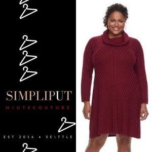 DANA BUCHMAN Mitered Sweater Dress Plus Size Wine